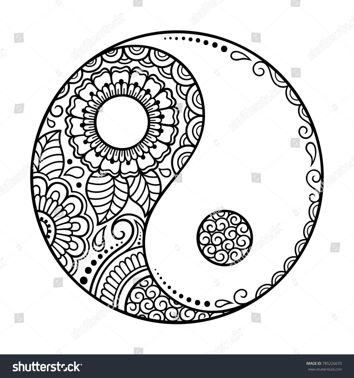 Simbolo disegnato a mano yin-yang. Immagine vettoriale a tema Circular Pattern – Sign Interaction (royalty free) 785226670