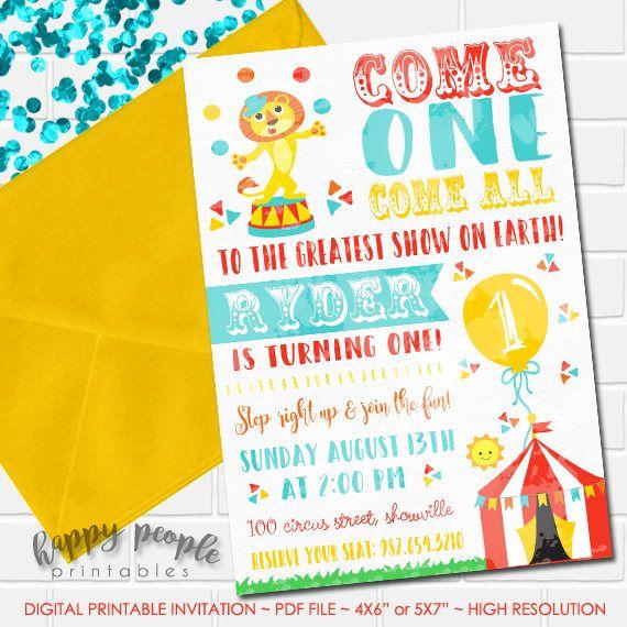 Circus Birthday Invitation Watercolor First Printable Carnival Invite Boy