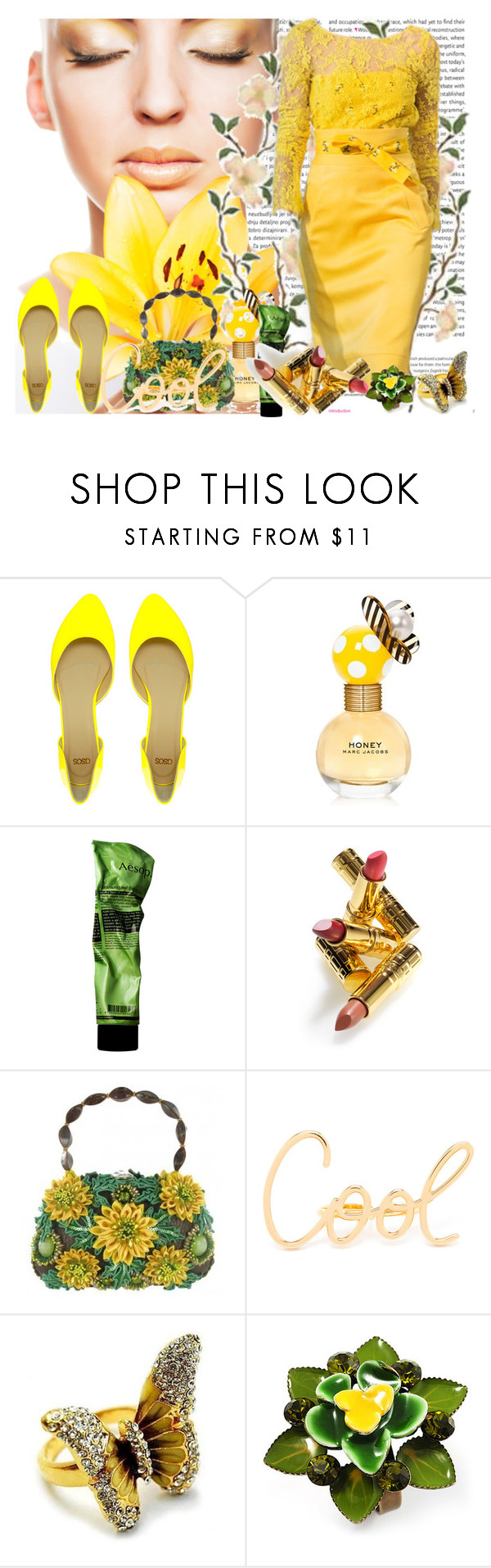 """Untitled #818"" by strawberrybubble ❤ liked on Polyvore featuring Oris, Oscar de la Renta, ASOS, Marc Jacobs, Aesop, Elizabeth Arden, Mary Frances Accessories, Lanvin, Fantasy Jewelry Box and Avalaya"