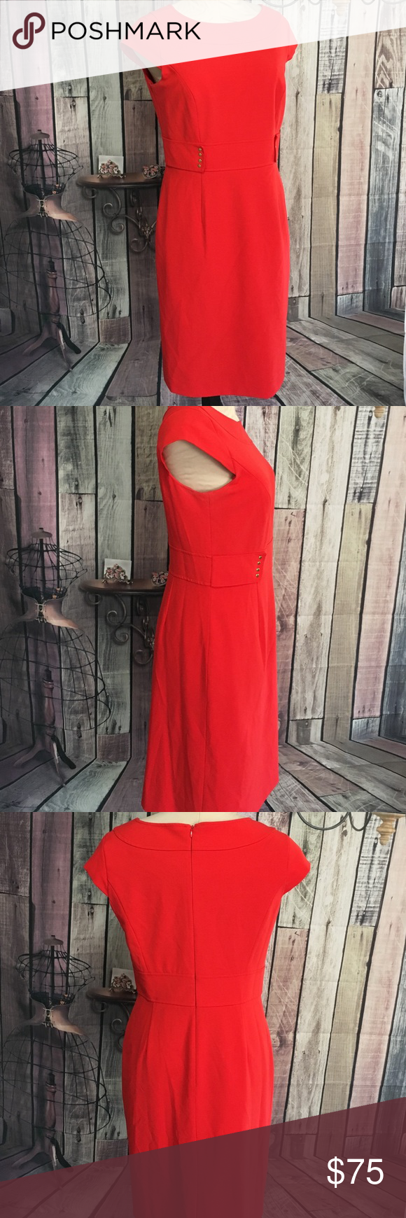 TAHARI Red Career Dress Bright bold sophisticated red. Belted look with gold hardware. Zipper back. Capped sleeve. About knee length. Pleated split detail back bottom. Tahari Dresses Midi