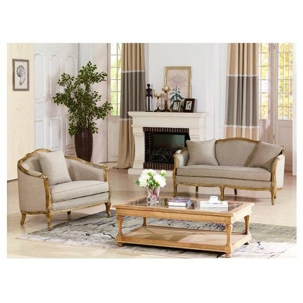 Baxton Studio Corneille French Country Weathered Oak Beige Linen... ($1,355) ❤ liked on Polyvore featuring home, furniture, sofas, beige, linen loveseat, fabric couch, off white sofa, cream couch и cream sofa