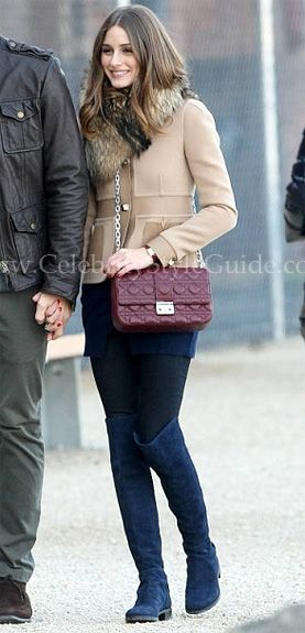 Olivia Palermo spotted in an amazing pair of navy suede Stuart ...