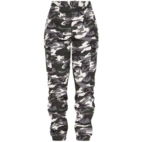 7823e6309aa3 Stone Camo Print Cargo Trousers ( 38) ❤ liked on Polyvore featuring pants