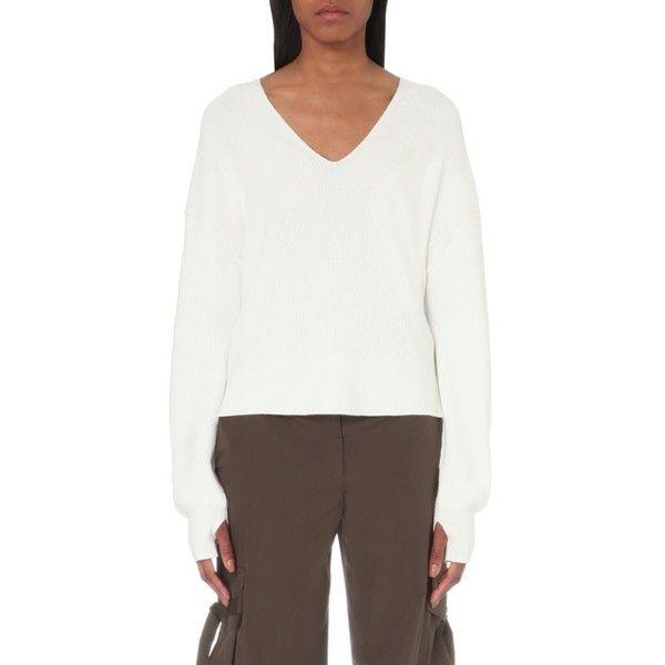 HELMUT LANG V-neck cotton and cashmere-blend jumper ($450 ...