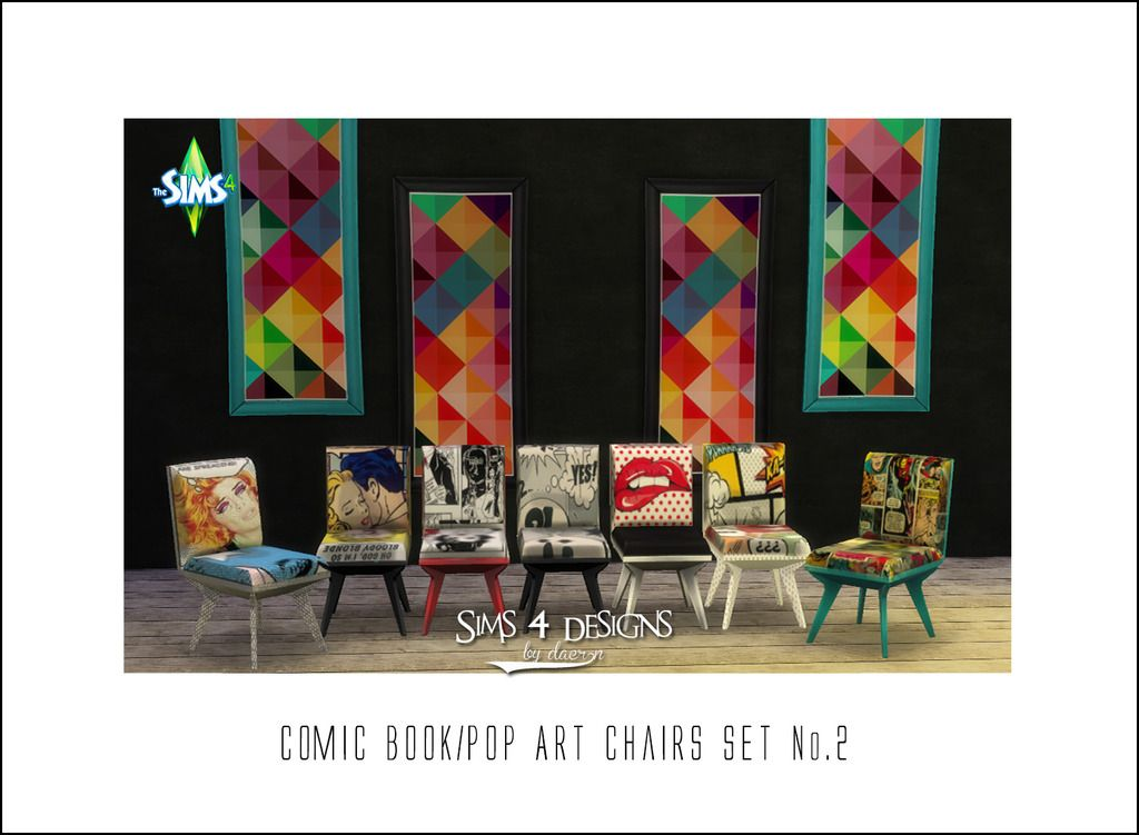 Comic Book Pop Art Chairs Updated Sims 4 Designs