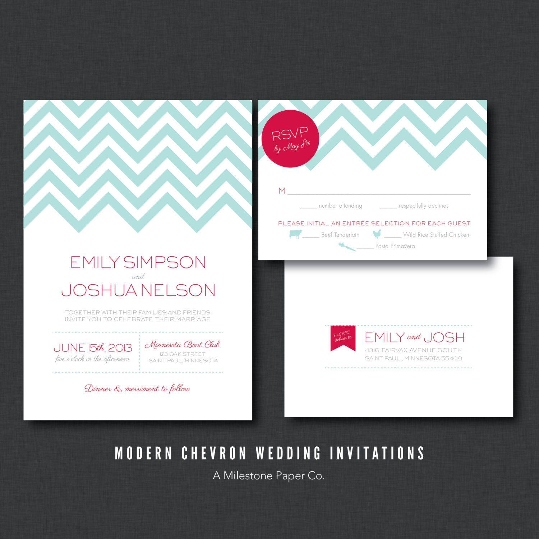 Modern Chevron Wedding Invitations, Printed, Printable, DIY. $50.00 ...