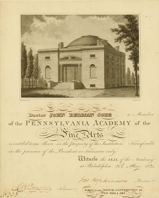 #Pennsylvania Academy of the Fine Arts #Philadelphia, 21 May 1821, 1 Share, #208, 27.4 x 22.2 cm, black, beige, folds, edge repaired (most probably the share was removed from a passe-partout), condition VF, large picture of the 1806 built academy building, issued to John Redman Coke, signed by Joseph Hopkinson as President. Hopkinson was Congressman from Pennsylvania and served as a federal judge later. Rarity!