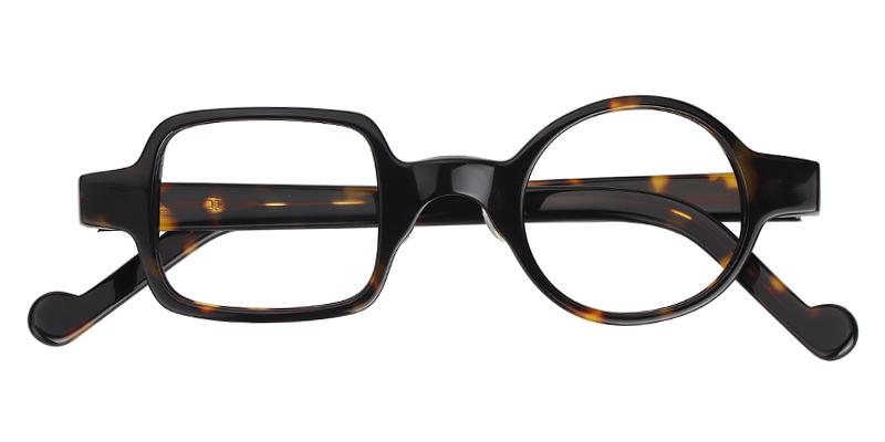 fd6290cd22e7 Glasses Eleanor Asymmetric Tortoise Eyeglasses Round Square Frame 0170-02