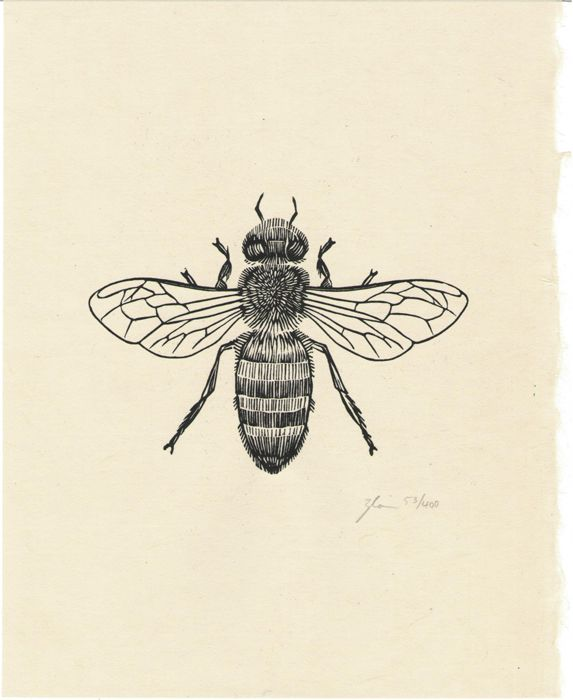 Line Art Tattoo Artists Near Me : Honey bee edition  printed on handmade