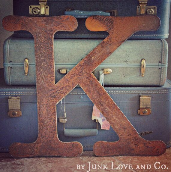 18 Inch Tall Rusty Metal Letter A Z 1 2 3 By Junkloveandco 32 00
