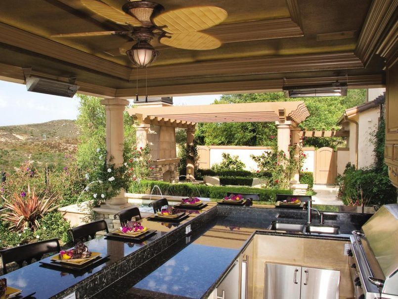 Beautiful Backyard Outdoor Kitchen Patio Bar Backyard With An Outdoor Kitchen  Mediterranean Style For Modern House
