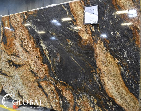 Sedna Granite Rich Blacks Copper Tones Tans And Whites In An Intense Varied Pattern Visit Globalgranite Com For Your Granite Dad S Kitchen Design Elements