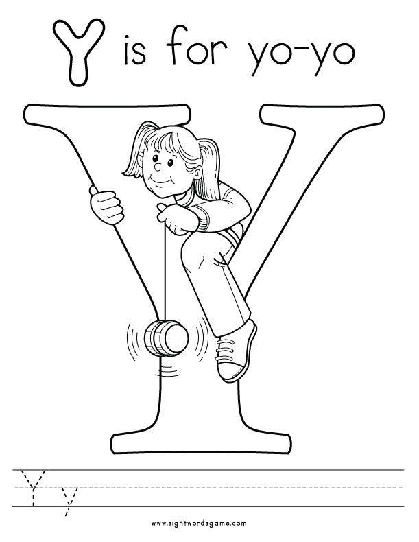 Letter Y Coloring Page 2 Letters of the Alphabet Pinterest