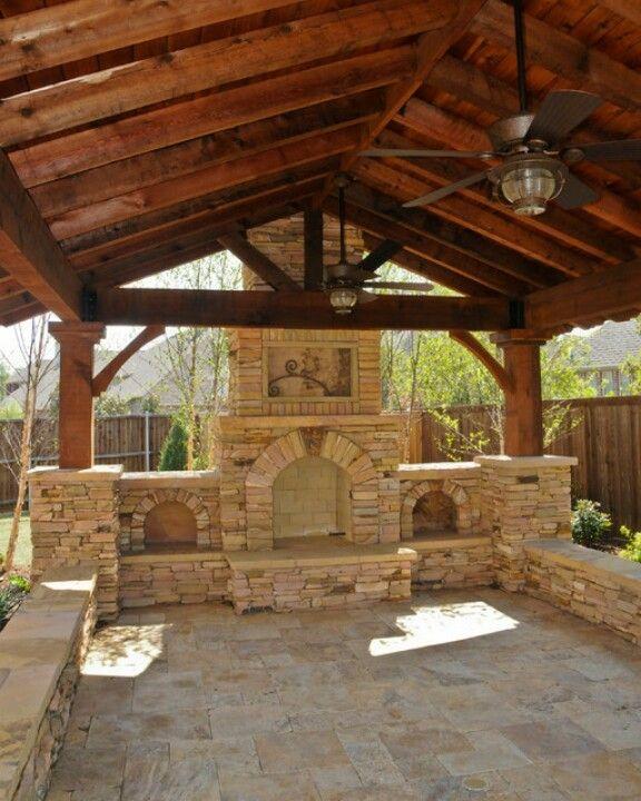 Rustic Gable Gazebo Cedar And Stone Backyard Fireplace