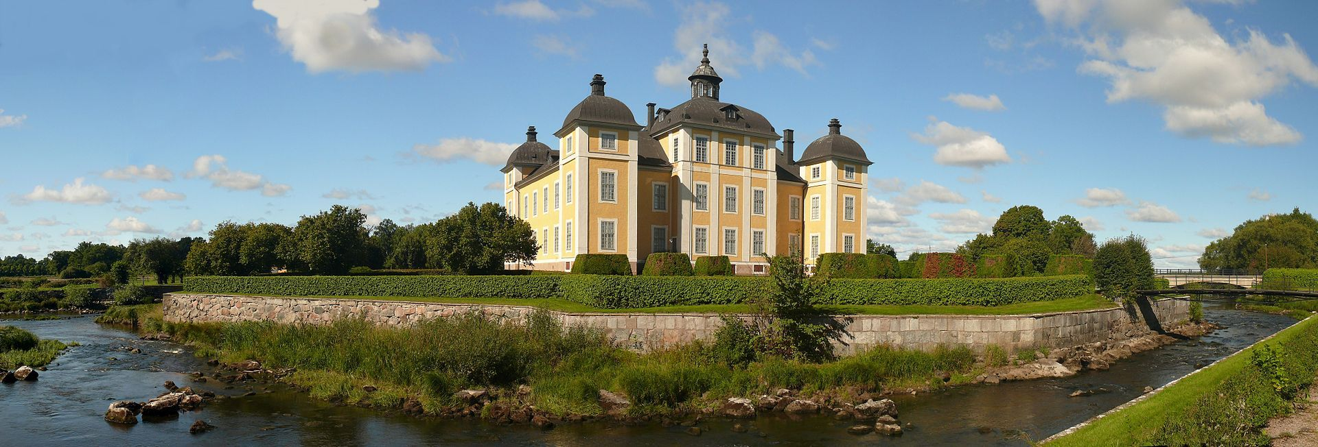 Strömsholm Palace, sometimes called Strömsholm Castle (Swedish: Strömsholms slott), is a Swedish royal palace. The baroque palace is built on the site of a fortress from the 1550s, located on an island in the Kolbäcksån river at the west end of Lake Mälaren. The palace has interiors from the 18th century and an important collection of Swedish paintings.