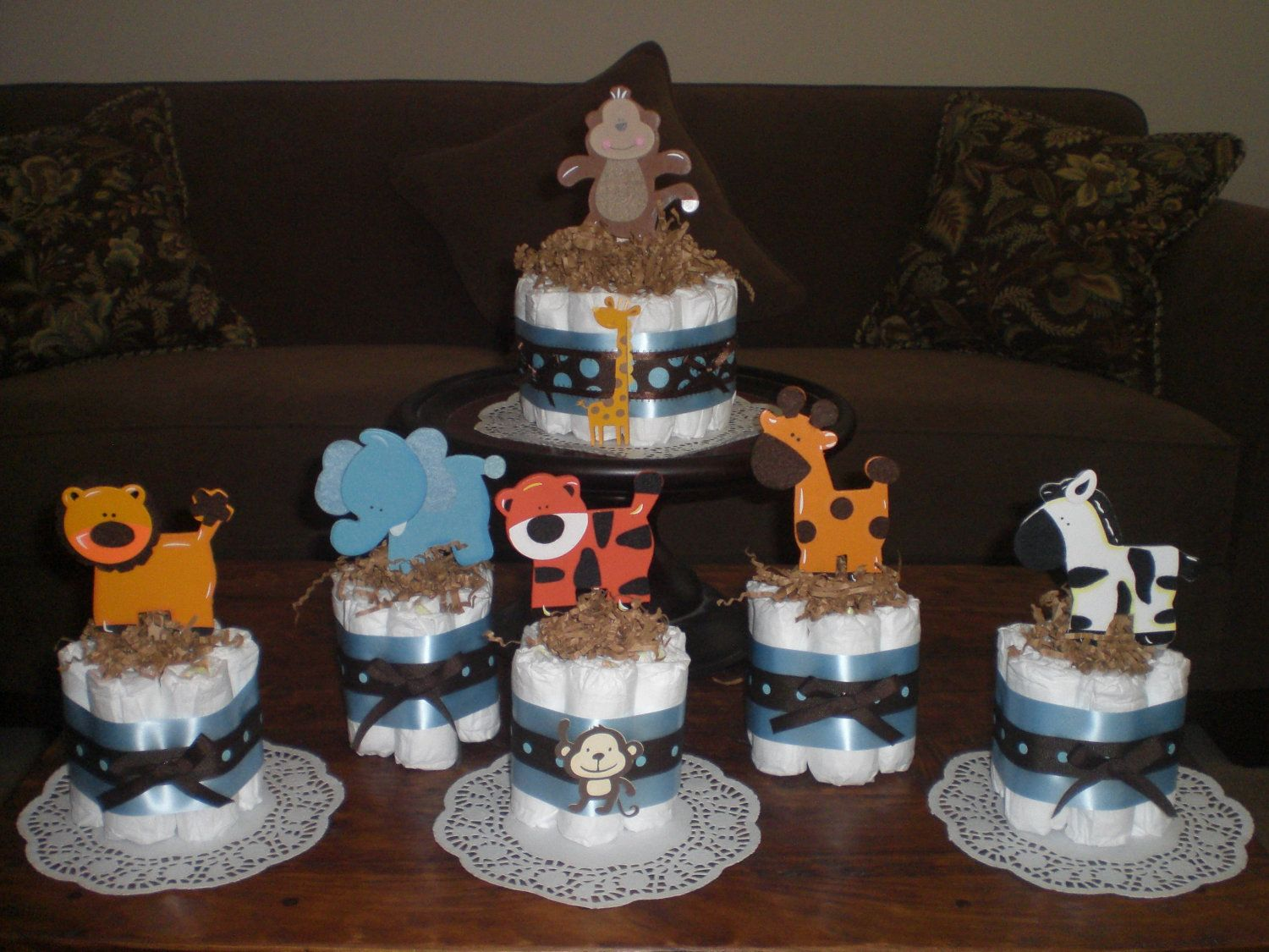 Homemade baby shower table decoration ideas - Safari Jungle And Monkey Diaper Cakes Baby Shower Centerpieces Other