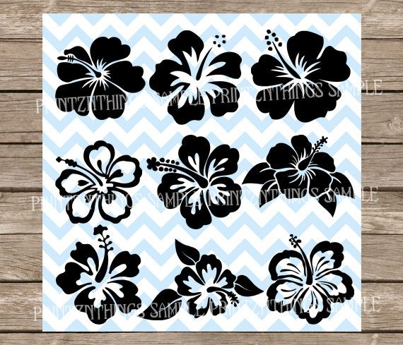 Hawaii Flower Svg Hibiscus Decal Hibiscus Stencil Floral Svg