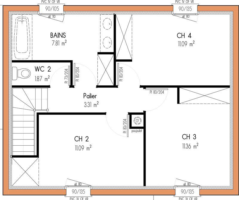 Plan maison 100m2 4 chambres etage plan maison en 2018 Pinterest