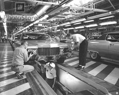 Cadillac Models on Assembly Line (1970)