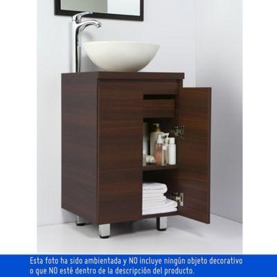 Mueble De Bano Bahia Wengue 45 Cm Con Lavamanos Spazio Blanco