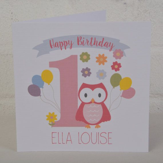 This is a lovely personalised birthday card for a little girl or little owl personalised birthday card for a girl personalised birthday card for a one year old first birthday card custom card bookmarktalkfo Images