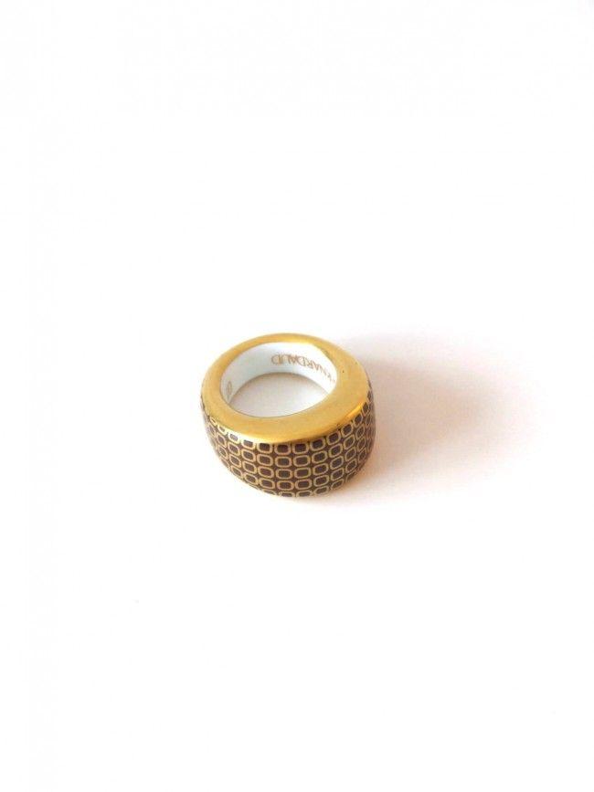 Bernardaud Limoges porseleinen ring bruin met goud - Vintage