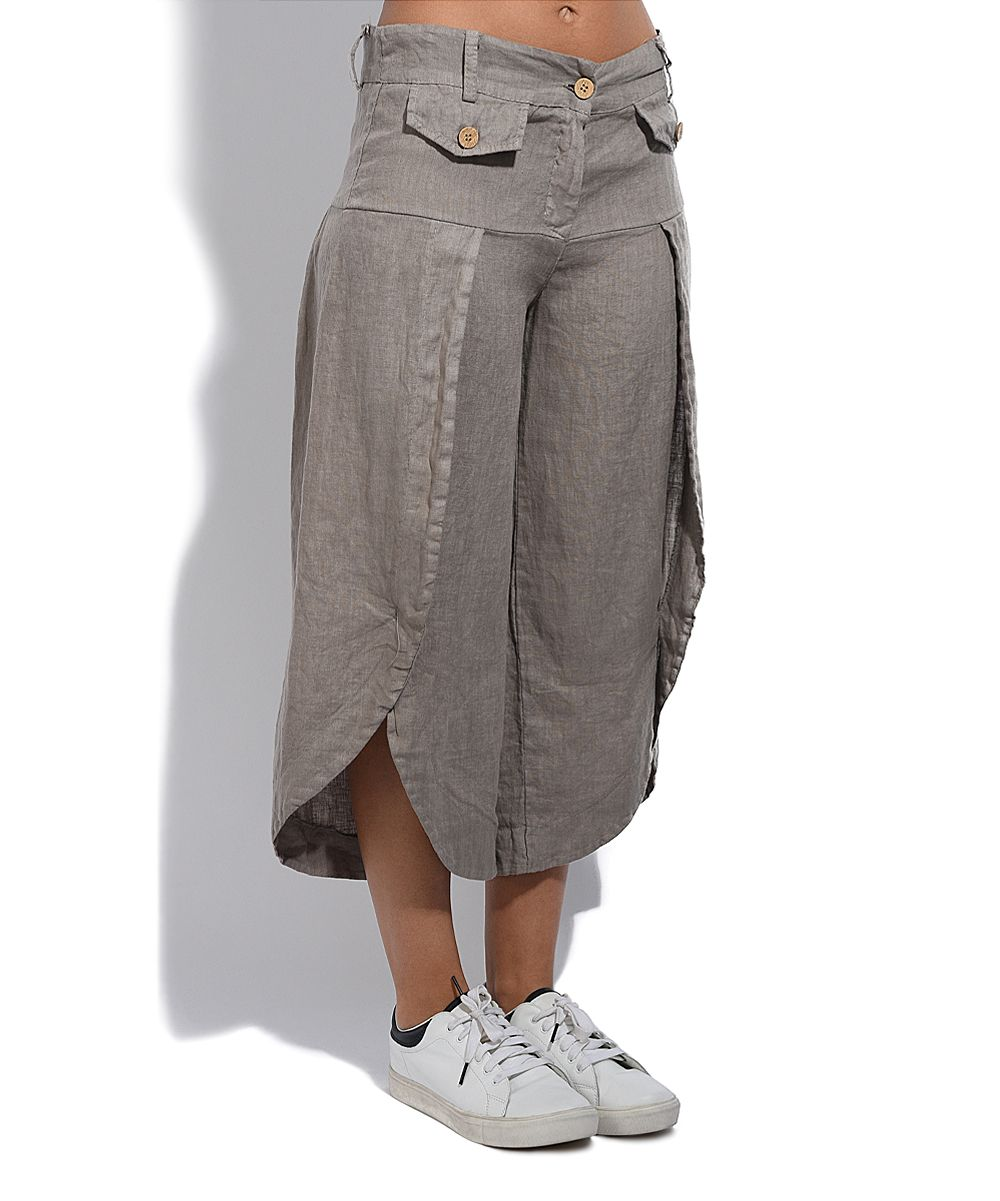 Taupe Tulip-Hem Linen Crop Pants - Plus Too | Серо-коричневый, Шик ...
