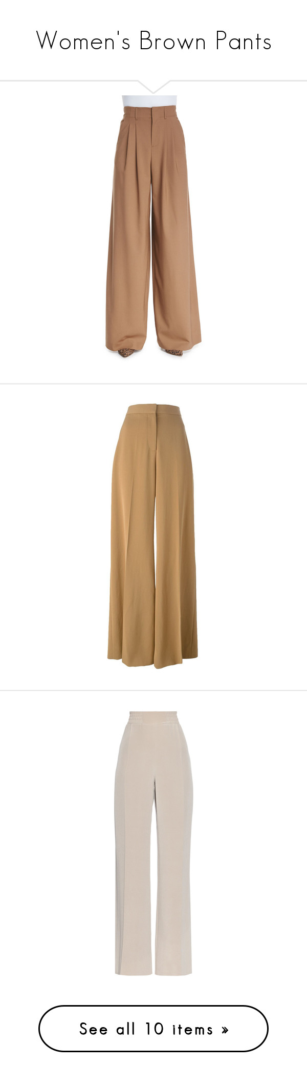 """""""Women's Brown Pants"""" by eternalfeatherfilm on Polyvore featuring pants, camel, high waisted wide leg trousers, high-waist trousers, camel pants, high waisted pants, wide leg pants, bottoms, trousers and stella mccartney"""
