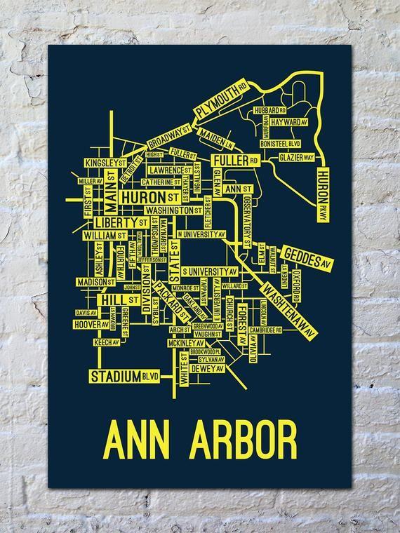Ann Arbor, Michigan Street Map Screen Print - College Town ...