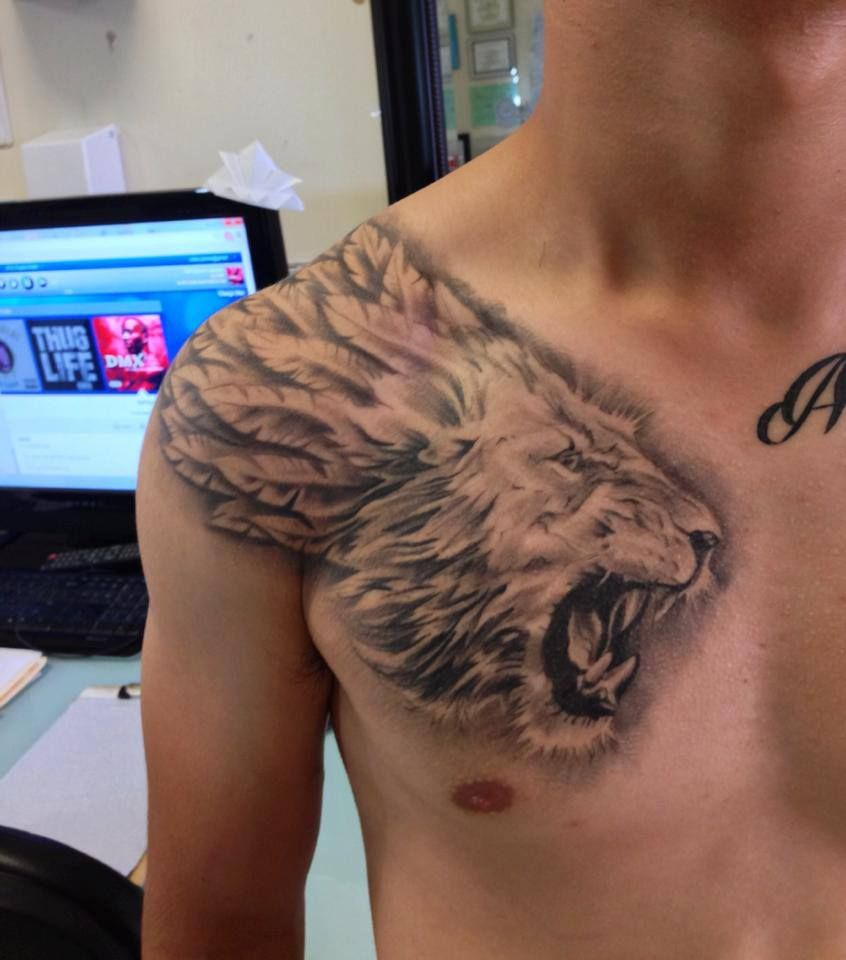 22++ Astonishing Lion and rose tattoo chest image HD