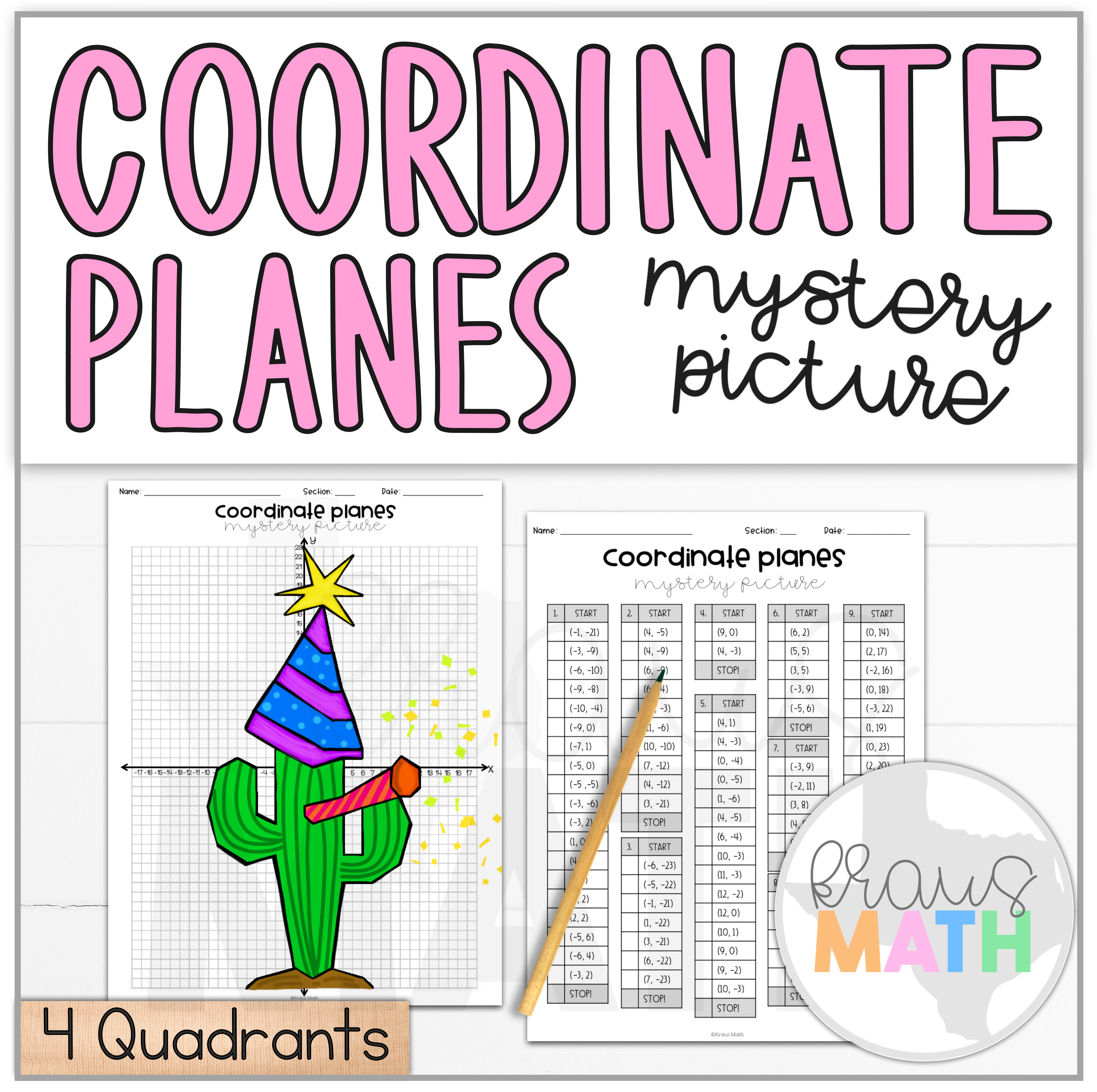 New Years Cactus Coordinate Plane Mystery Picture 4