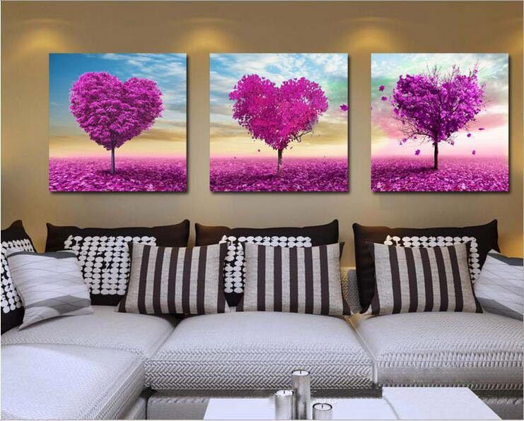 New Diy Acrylic Paint By Number 20x20 Kit Oil Painting Three Parts Love Trees Wall Canvas Painting Wall Painting Wall Canvas