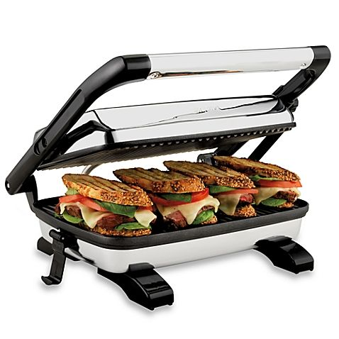 Designed to grill gourmet panini sandwiches of any thickness, the Panini Press Gourmet Sandwich Maker from Hamilton Beach® heats ingredients, melts cheese, and creates a crispy outer crust.