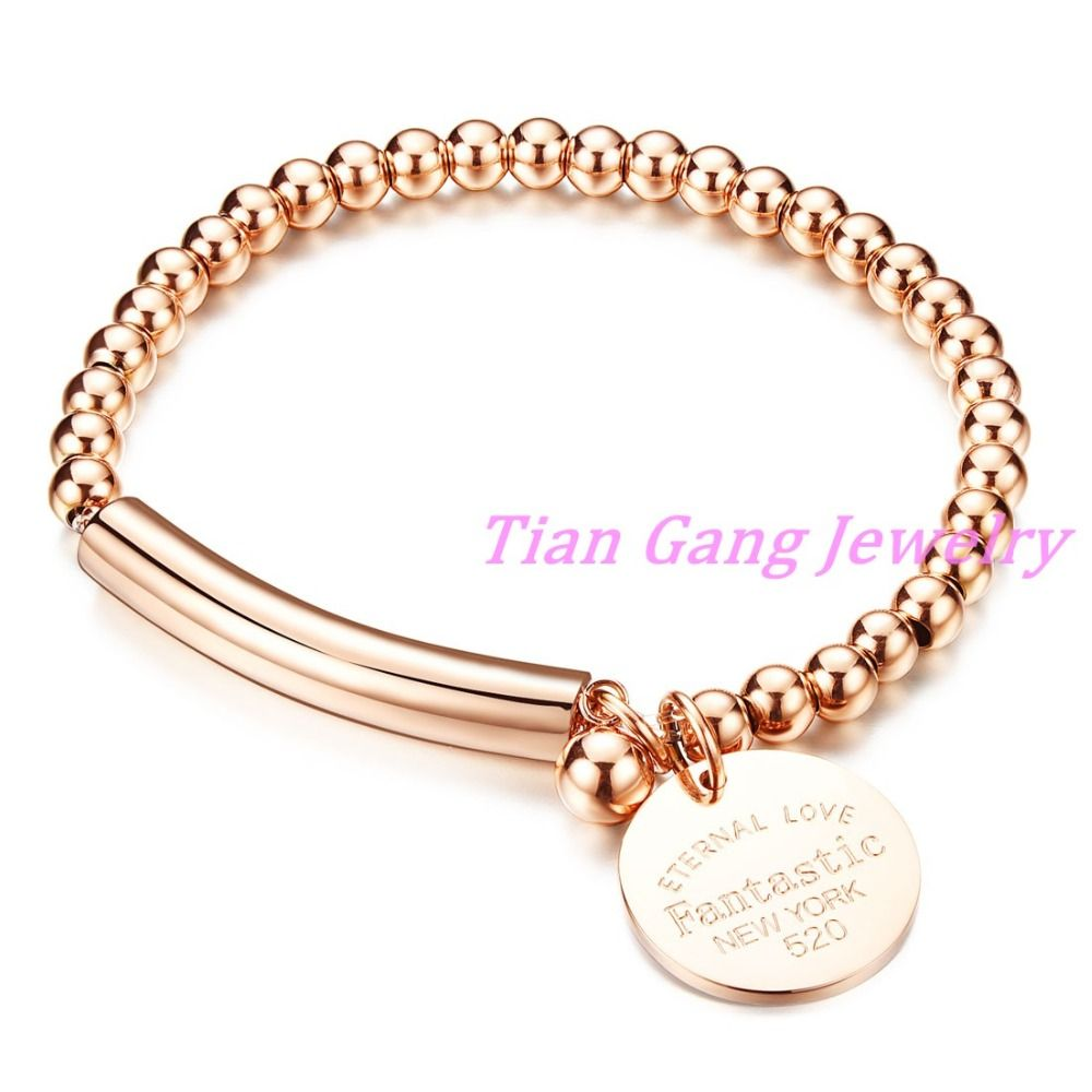 New unisex rose gold stainless steel bead bracelets bangles for men