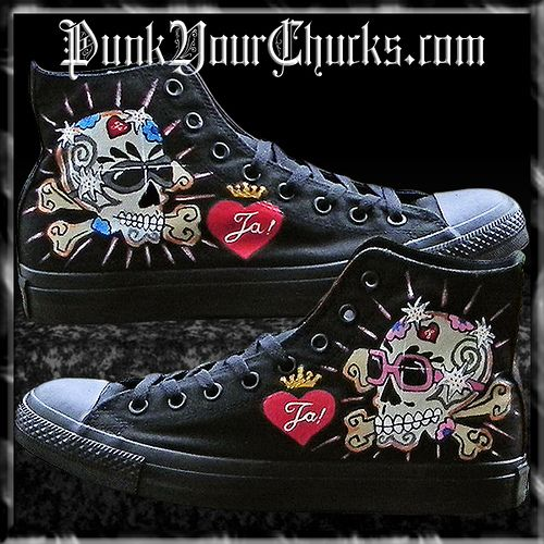 d4905d444e3e7b Hand Painted Custom Wedding Converse Chuck Taylors by punkyourchucks ...