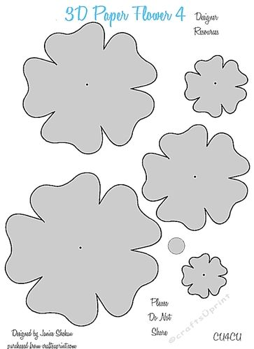 3d paper flower templates 4 cu4cu 3d paper template and craft cards mightylinksfo
