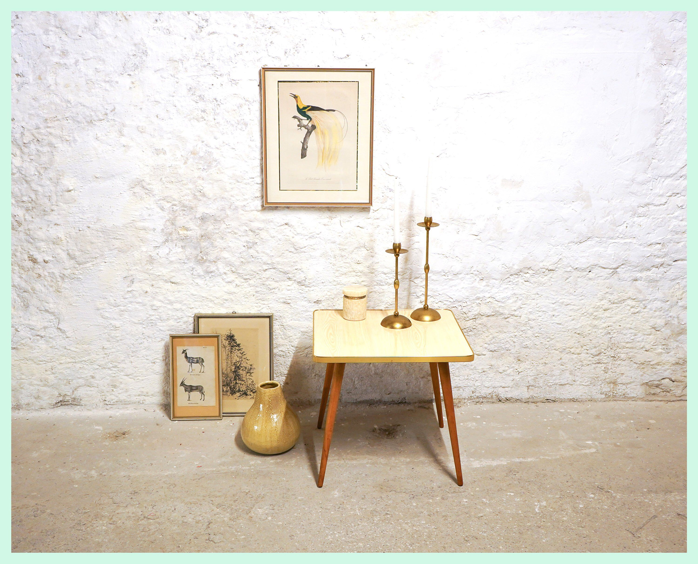 Vintage Resopal Beistelltisch Tisch Couchtisch Holztisch