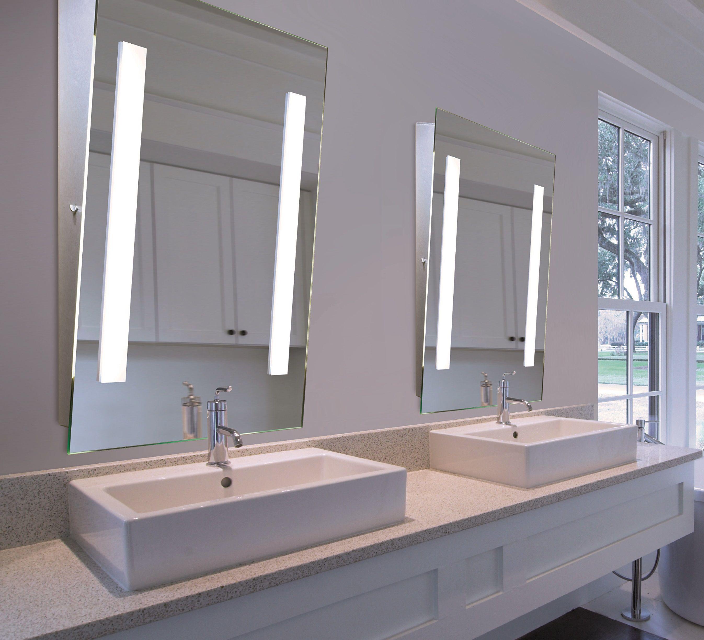 Lighted tilted mirrors | Bathroom decor, Mirror, Small ...