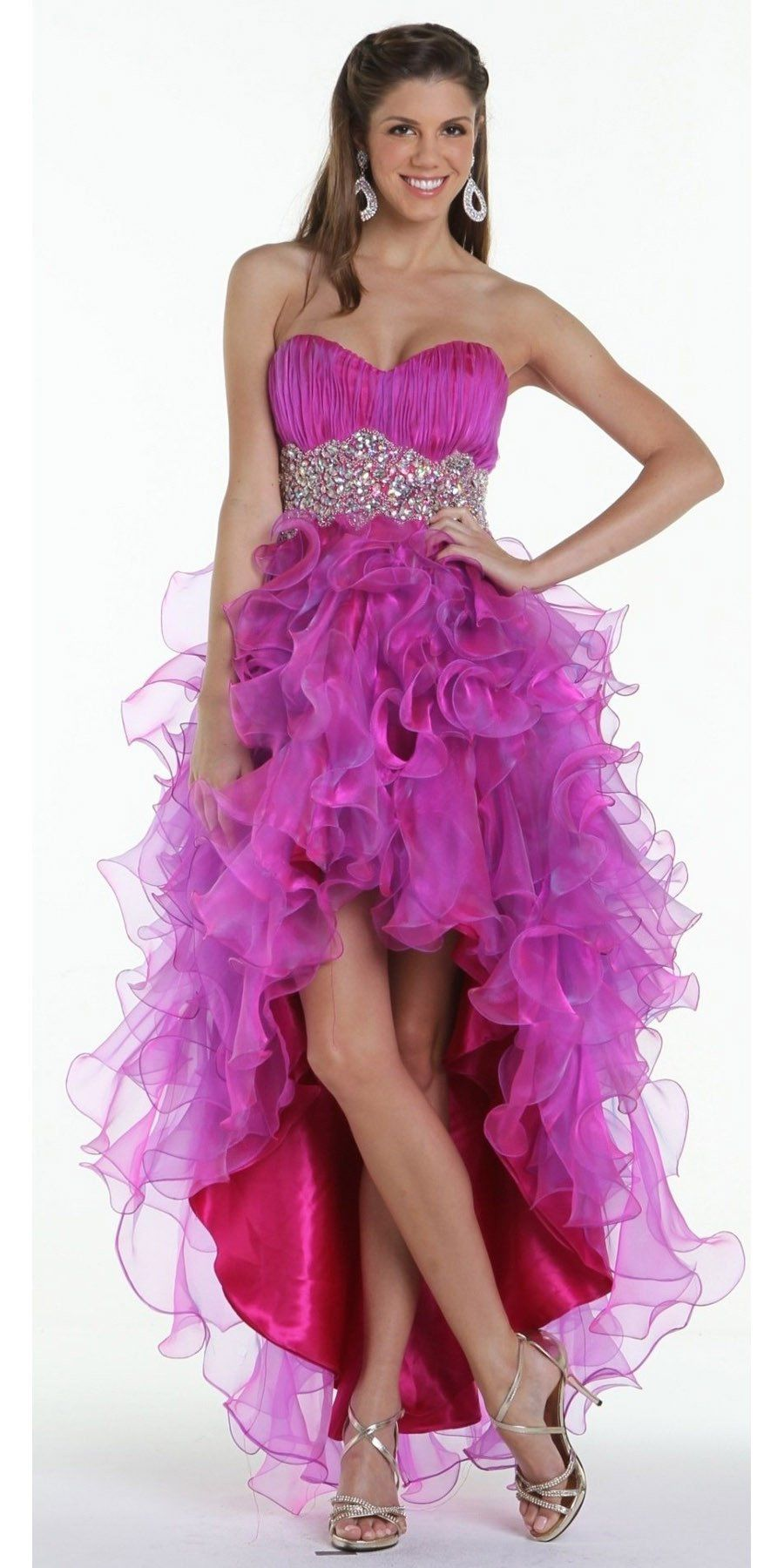 ON SPECIAL LIMITED STOCK - Ruffled High Low Skirt Ruched Bodice ...
