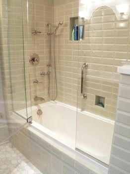 Glass Enclosed Tub Door In The Middle Bathroom Makeover Tub