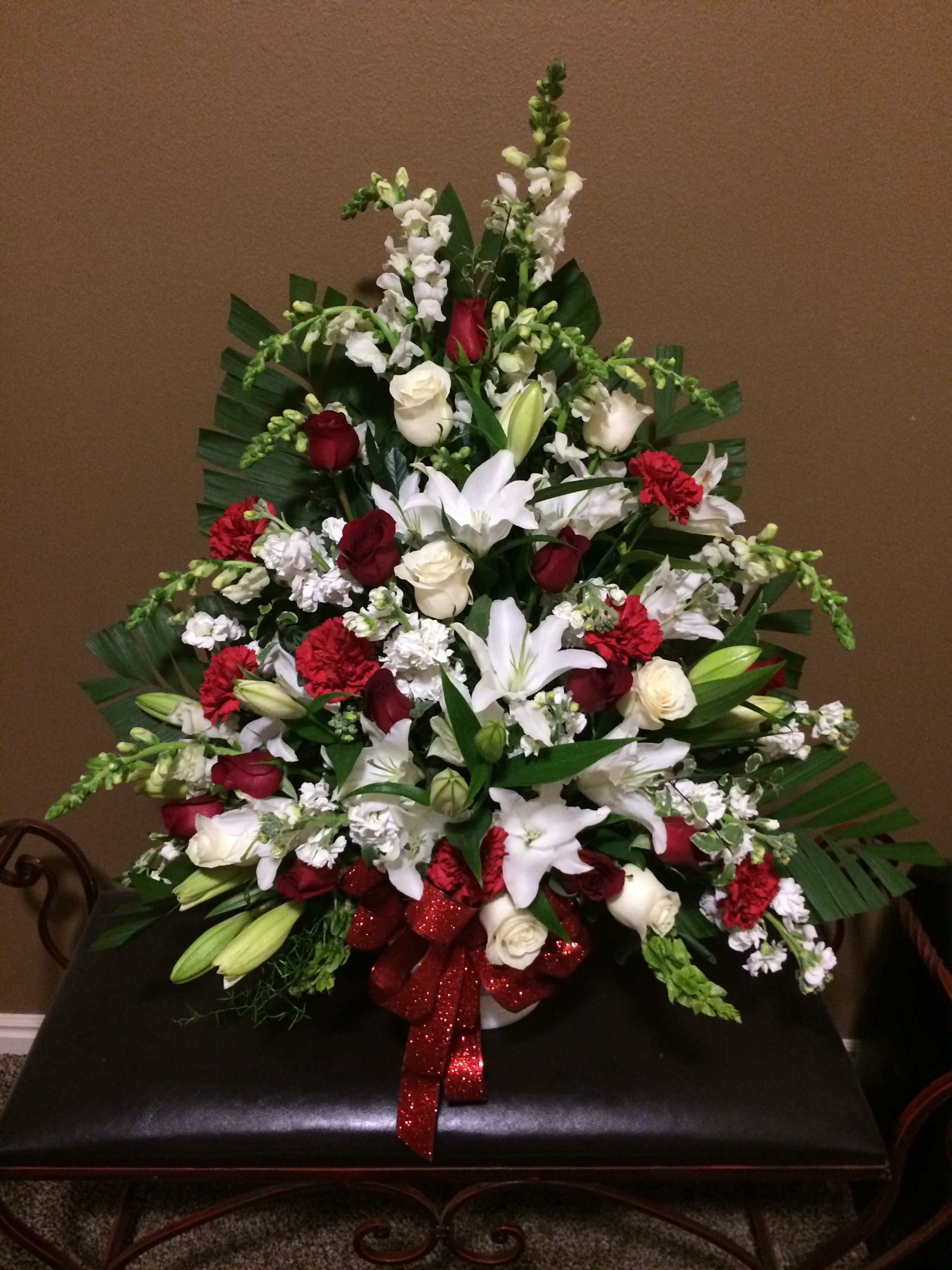 Truloveblooms red and white rose funeral spray funeral flowers truloveblooms red and white rose funeral spray izmirmasajfo