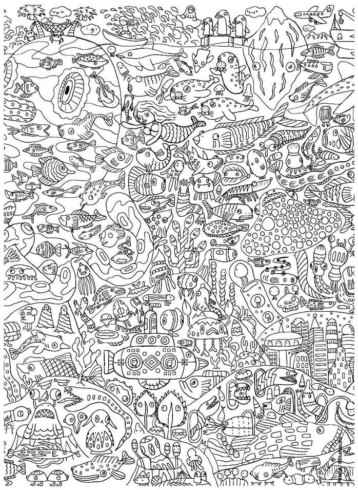 Coloriage Anti Stress Ecole.Coloriage Pour Adulte Anti Stress Ecole Classes De Mer Coloriage