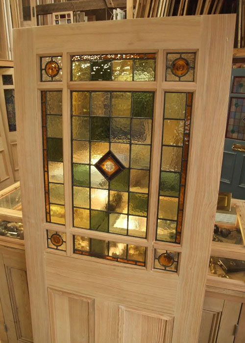 An interior door design with simple pattern stained glass panel in top middle of door & An interior door design with simple pattern stained glass panel in ... Pezcame.Com