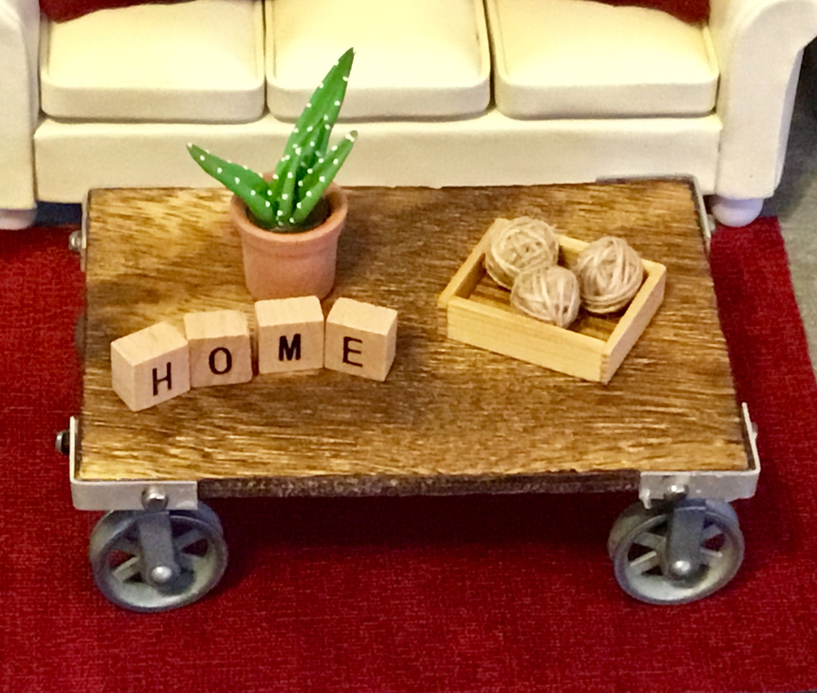 Strange Dollhouse Miniature Wooden Farmhouse Style Coffee Table With Download Free Architecture Designs Scobabritishbridgeorg