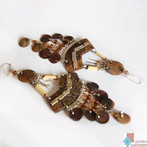 Fish scale natural ear rings hand made beads alpaca natural jewelry brown folk boho hippi romantic