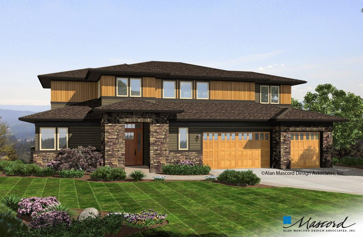Mascord House Plan 2395 The Riverview Prairie Style Houses Sloping Lot House Plan Contemporary House Plans