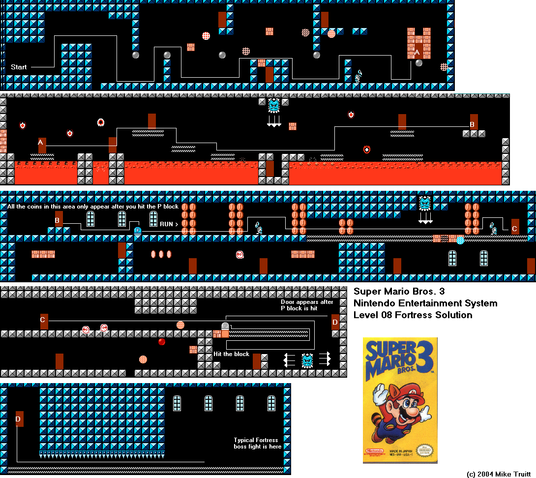 Super Mario Bros 3 Level 08 Fortress Solution For Nes By Mike Truitt Super Mario Bros Mario Bros Super Mario