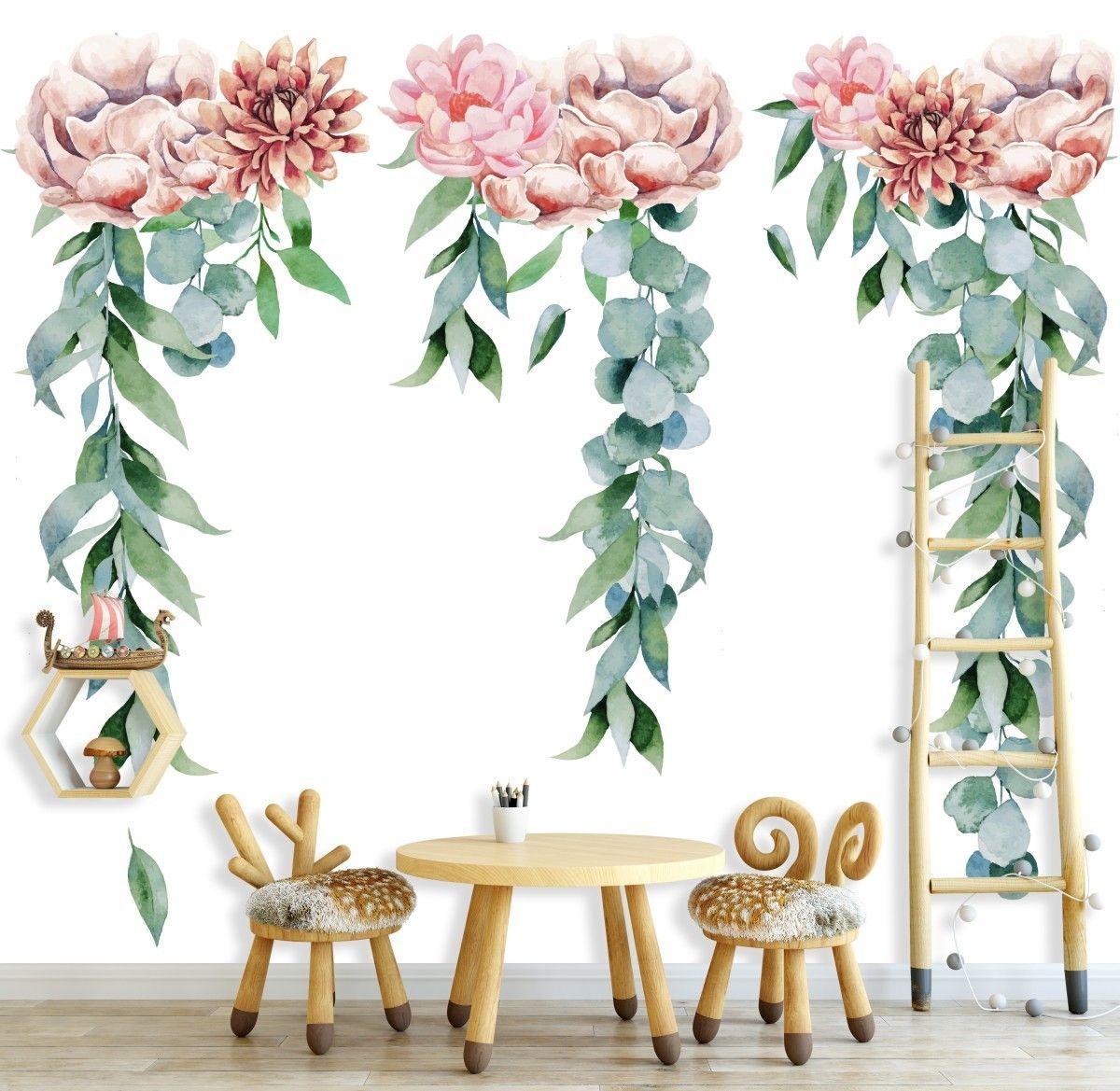 Pastelowe Kwiaty Pomysl Na Tapete Do Pokoju Dzieciecego Mural Table Decorations Decor