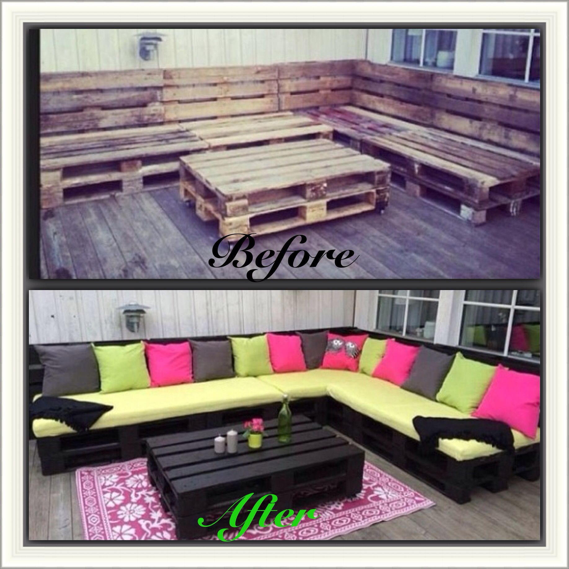 Wood pallet sectional diy pallet furniture pinterest for Banquette en palette de bois