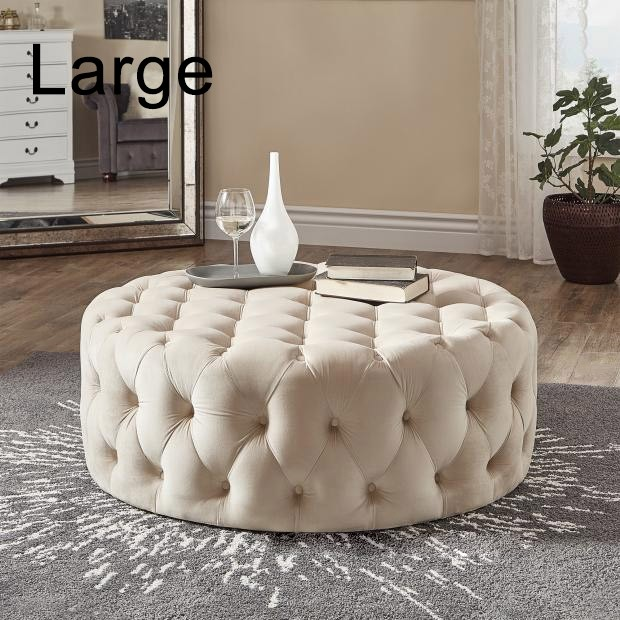 Tufted Ottoman Light Gray Pink Beige Deep Blue Velvet Ottoman Coffee Table Tufted Cocktail Ottoman Round Ottoman Pouf Small Large In 2020 Cocktail Ottoman Weston Home Round Ottoman